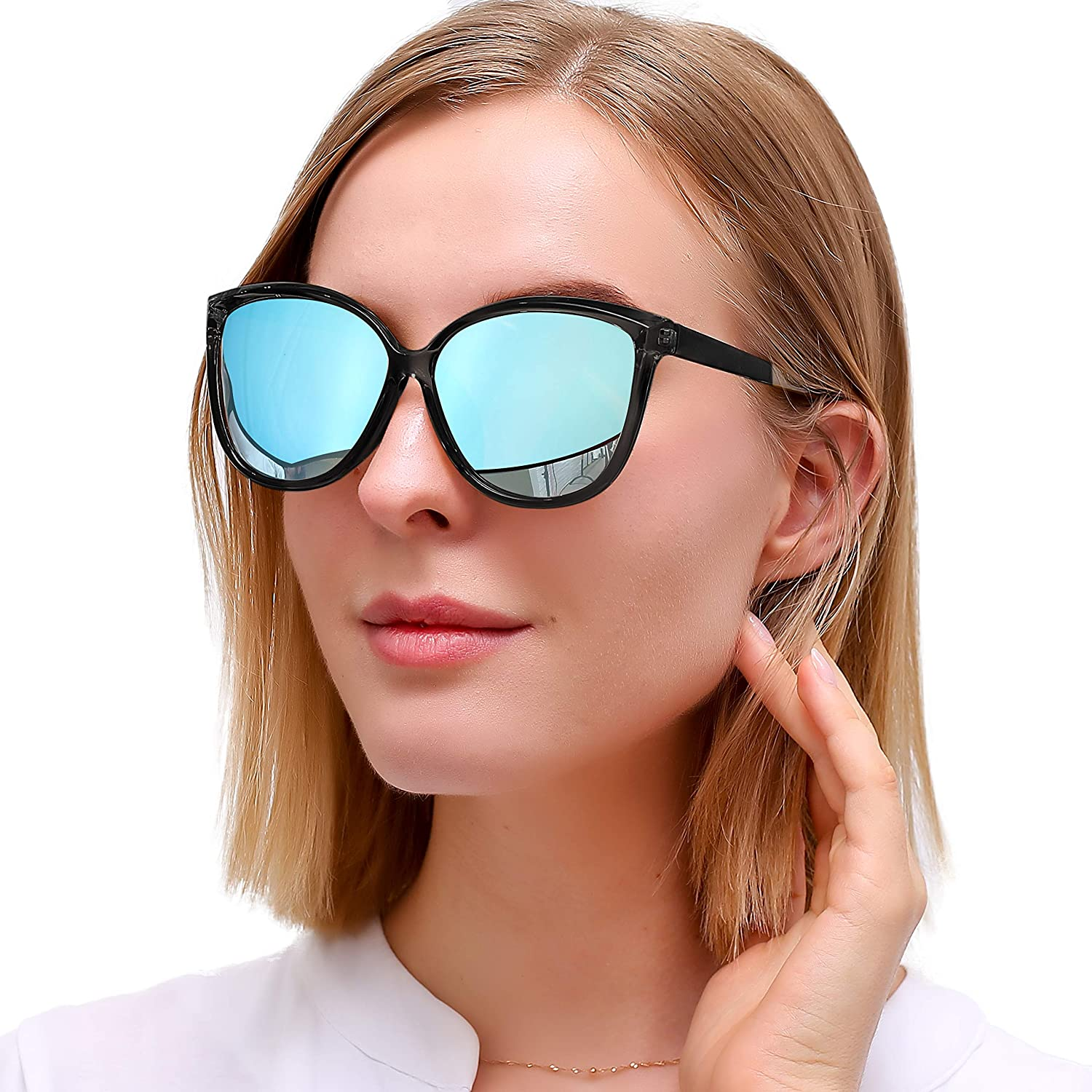 6a067e6e86 polarized. Lens width  55 millimeters ▻Trendy Cat Eye Design:The cat s eye-shaped  flash lens has a modern design. Can match your different fashion styles  ...