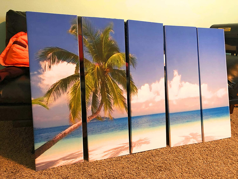 Amazon Com Tropical Beach Print On Canvas Seascape Canvas Art Prints Beach Wave Canvas Print Framed And Ready To Hang Home And Office Beach Décor Beach Canvas Designs 5 Panel Print Ocean Wall