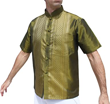 c12a3722d Raan Pah Muang Short Sleeve Formal Chinese Woven Motif Silk Shirt, Large,  Olive Green