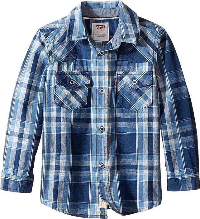 8f507938 Levi's Kids Baby Boy's Barstow Plaid Western Shirt (Toddler) Dress  Blues/Dutch Blue