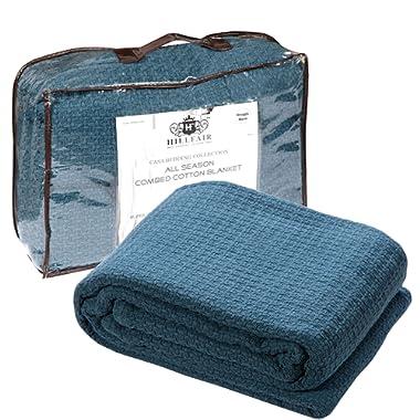 HILLFAIR 100% Soft Premium Combed Cotton Thermal Blanket– Queen Blankets– Soft Cozy Warm Cotton Blanket– Bed Throw Blanket– Queen Bed Blankets– All Season Cotton Blanket– Teal Queen Cotton Blankets