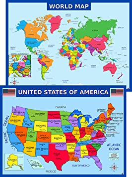 World Map Poster and United States USA Map Poster for Kids - Laminated,  Size 14x19.5 in.- Educational Posters for Classroom Decorations,  Homeschool, ...