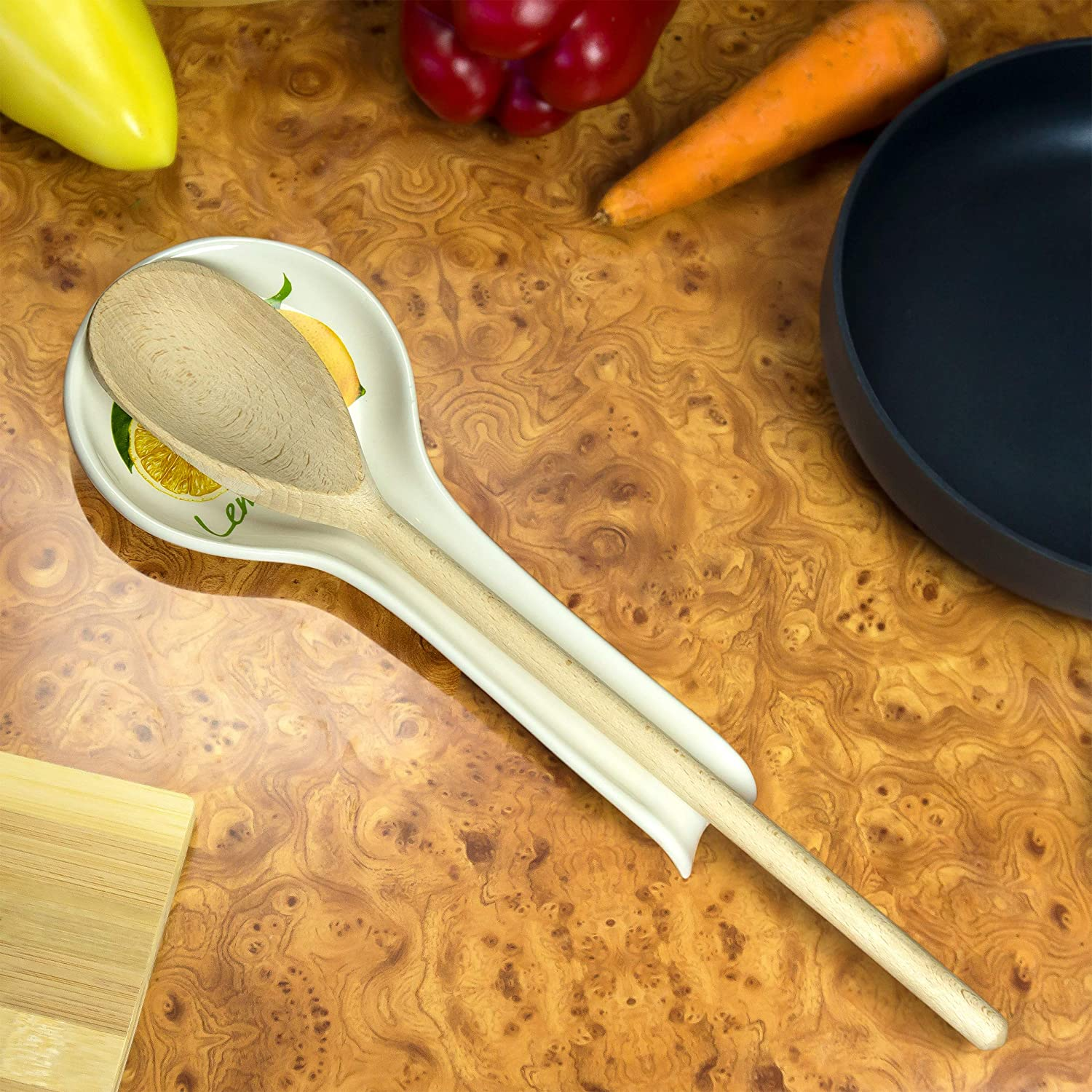 Decorative Ceramic Spoon Rest for Kitchen Stove Top with Wooden Spoon for Cooking Useful Kitchen Gift Set for Women Men Who Likes to Cook