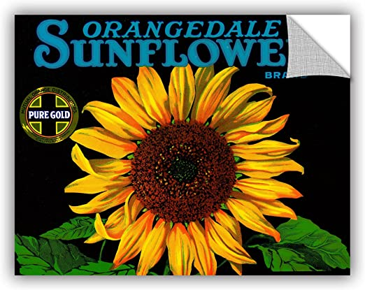 ArtWall 1ame012a1824p American Schools Vintage Sunflower Fruit Crate Label,1926 Removable Wall Art 18 by 24