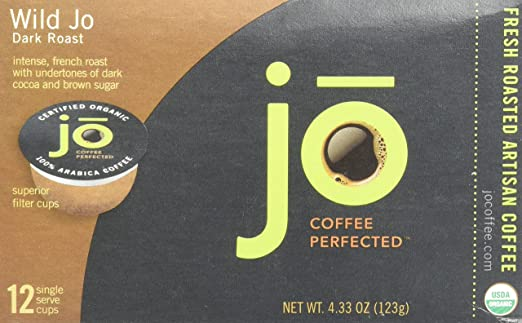 WILD JO: 12 Cup Organic Dark French Roast Single Serve Coffee for Kuerig K-Cup Brewers, Bold Strong Wicked Good! Keurig 1.0 & 2.0 Eco-Friendly Cup