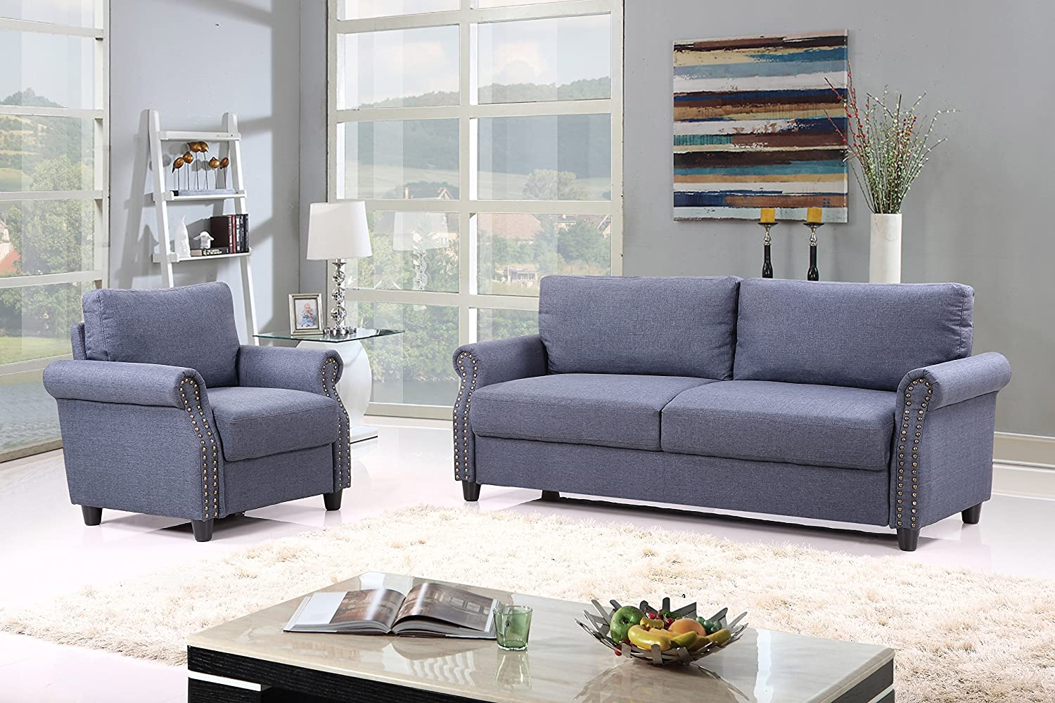 living room furniture amazon. Amazon com  2 Piece Classic Linen Fabric Living Room Sofa and Armchair Furniture Set with Nailhead Trim Blue Kitchen Dining