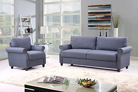 Amazon.com: 2 Piece Classic Linen Fabric Living Room Sofa and ...