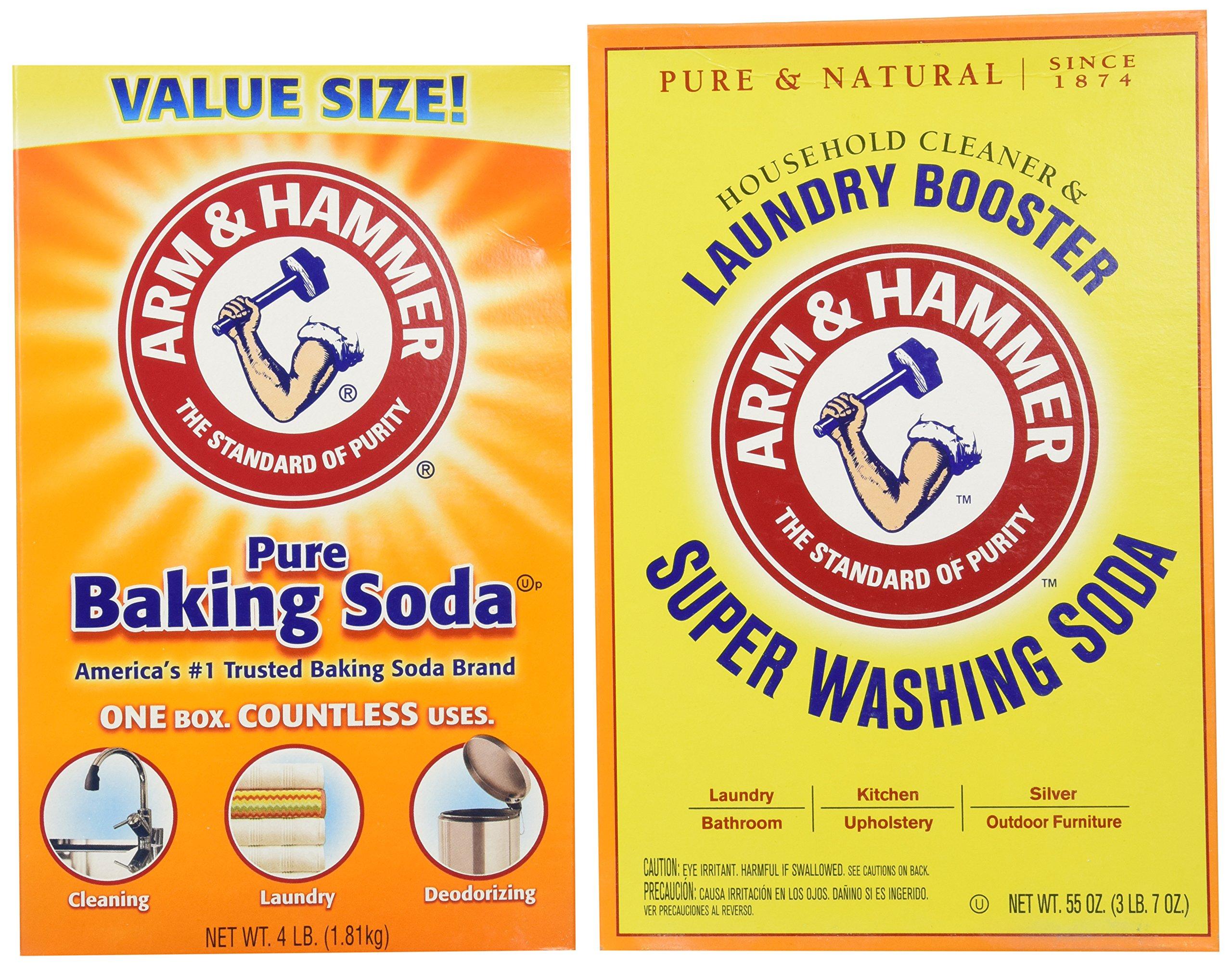 Bundle: Arm & Hammer Baking Soda-4LB PLUS Arm & Hammer Super Washing Soda 55 oz.