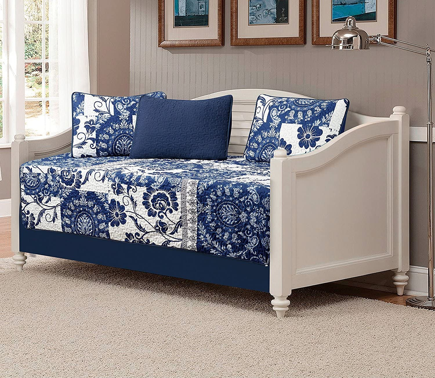 Fancy Collection 5pc DayBed Quilted Bedspread Coverlet Set Floral Navy Blue White New