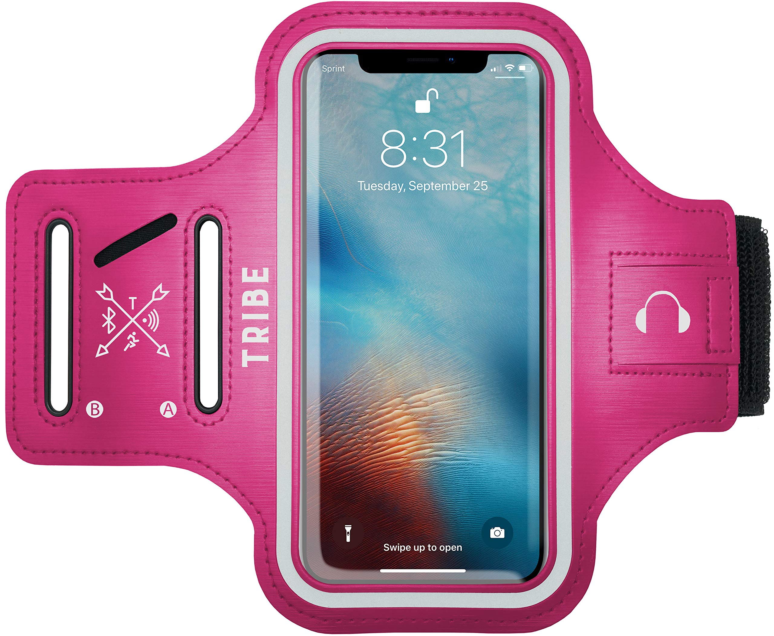 TRIBE Water Resistant Cell Phone Armband Case for iPhone X, Xs, 8, 7, 6, 6S Samsung Galaxy S9, S8, S7, S6, A8 with Adjustable Elastic Band & Key Holder for Running, Walking, Hiking - 91QY50DIQAL - TRIBE Water Resistant Cell Phone Armband Case for iPhone X, Xs, 8, 7, 6, 6S Galaxy S9, S8, S7, S6, A8 with Adjustable Elastic Band
