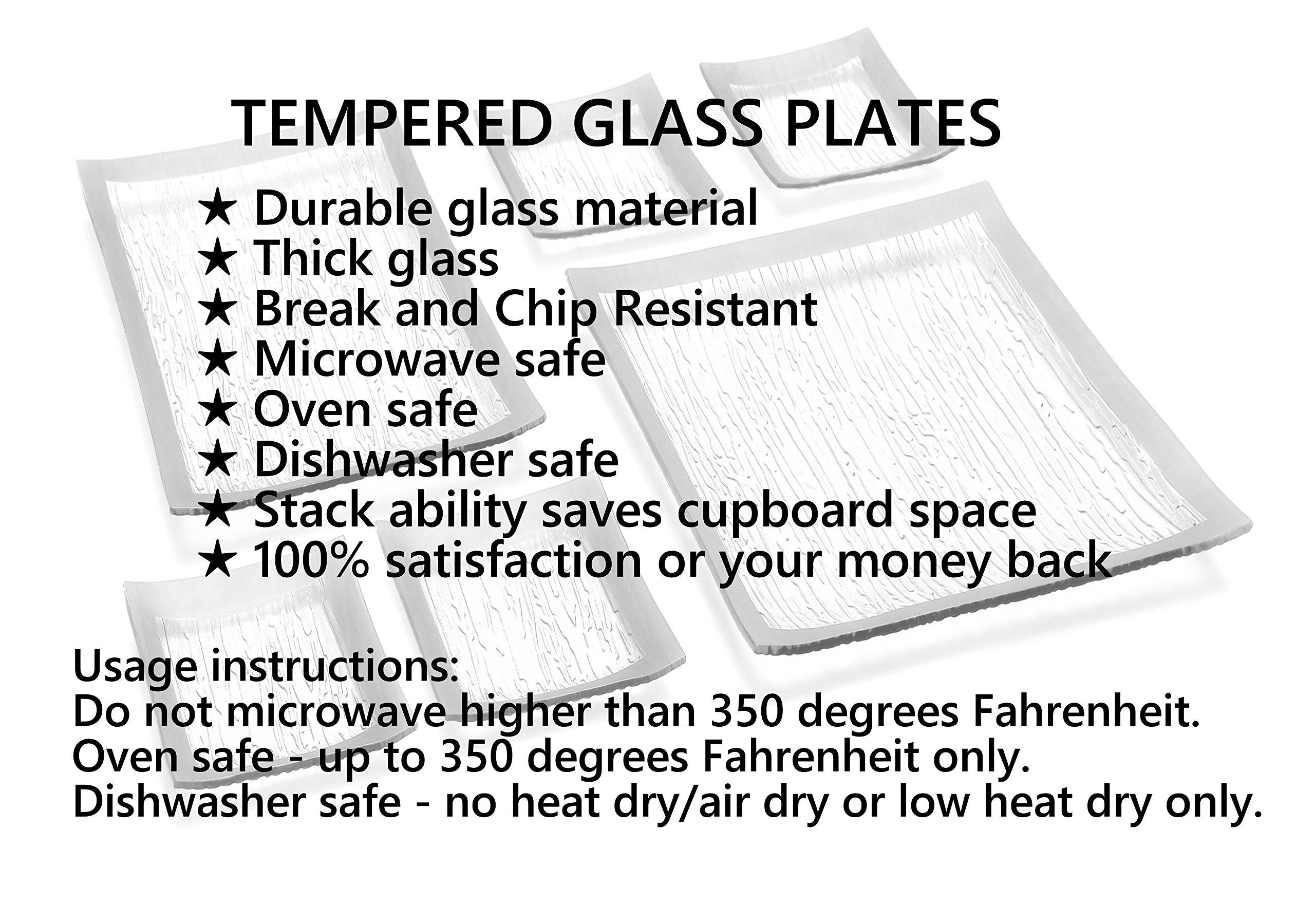 GAC Elegant Designed Square Tempered Glass Dessert Plates Set of 4 – Break and Chip Resistant - Oven Proof - Microwave Safe - Dishwasher Safe 6 Inch by GAC (Image #6)
