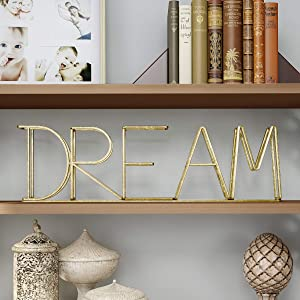 Lavish Home Cutout Free-Standing Table Top Sign-3D Dream Word Art Accent Decor with Gold Metallic Finish-Modern, Classic, or Farmhouse Style