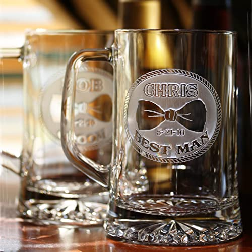 Amazon.com Bowtie Groomsmen Gift Ideas Best Man Beer Mugs Set of 4 (bowtiebeer4) Handmade & Amazon.com: Bowtie Groomsmen Gift Ideas Best Man Beer Mugs Set of 4 ...