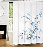 Tahari Luxury Cotton Blend Shower Curtain Printemps Turquoise Blue Grey Floral Branches by Tahari Home