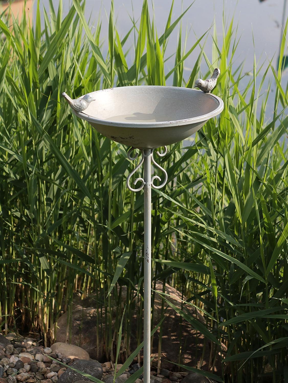 AmaCasa Bebedero para pájaros pájaro baño pájaro Platillos Agua Bebedero para calentar agua Carcasa Conector gris hierro