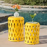Ellen Nestable Outdoor Small and Large Iron Side Table Set (Set of 2) (Matte Yellow)
