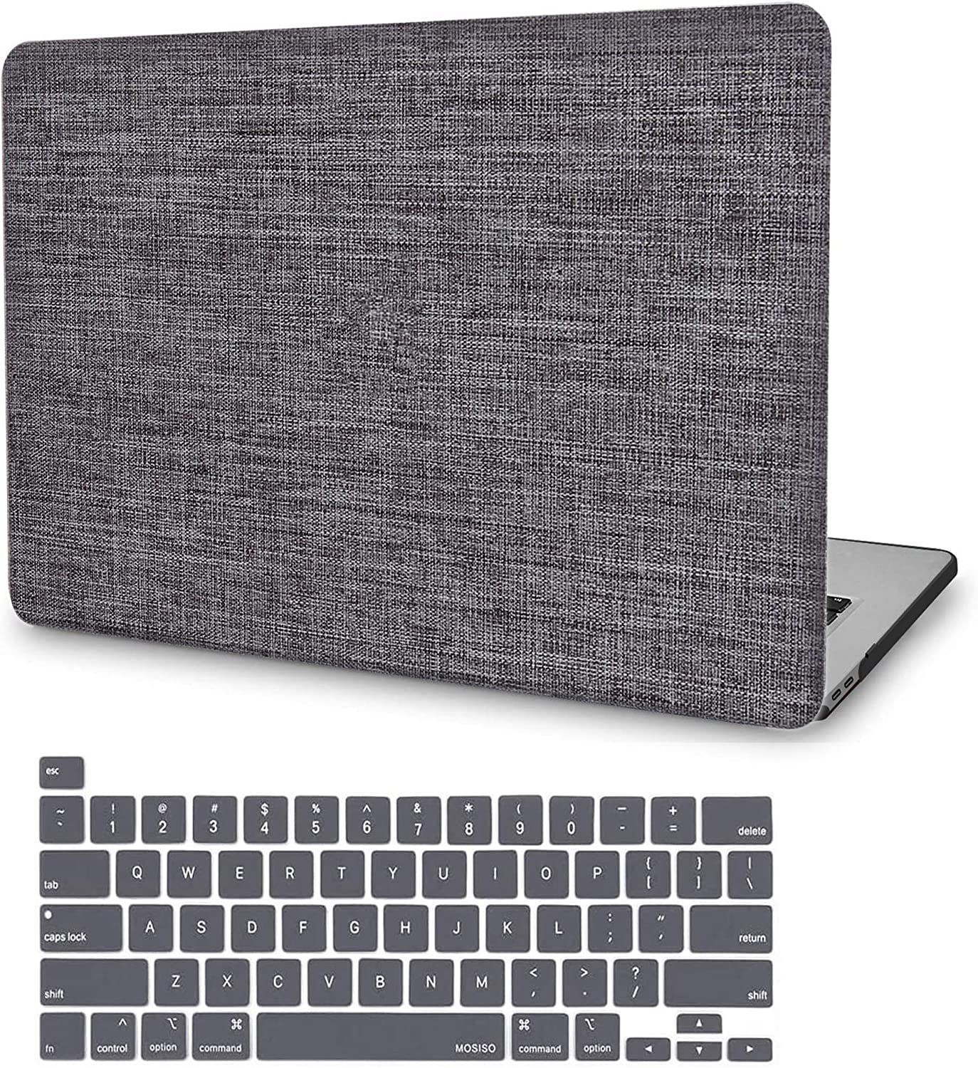 MacBook Pro 16 Inch Case 2020 2019 Release A2141, JGOO Slim Soft Touch Fabric Hard Protective Laptop Shell Cover Case with Keyboard Cover for Apple MacBook Pro 16 with Touch Bar and Touch ID, Grey