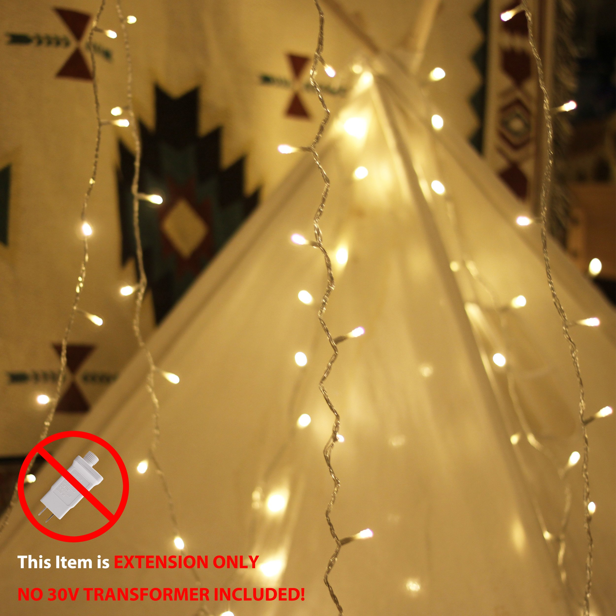 LouisChoice Extension Set of myCozyLite LED String Lights, 33 Ft, 100 LED, Waterproof with Male and Female Plug, Indoor & Outdoor Use (Transformer NOT Included)