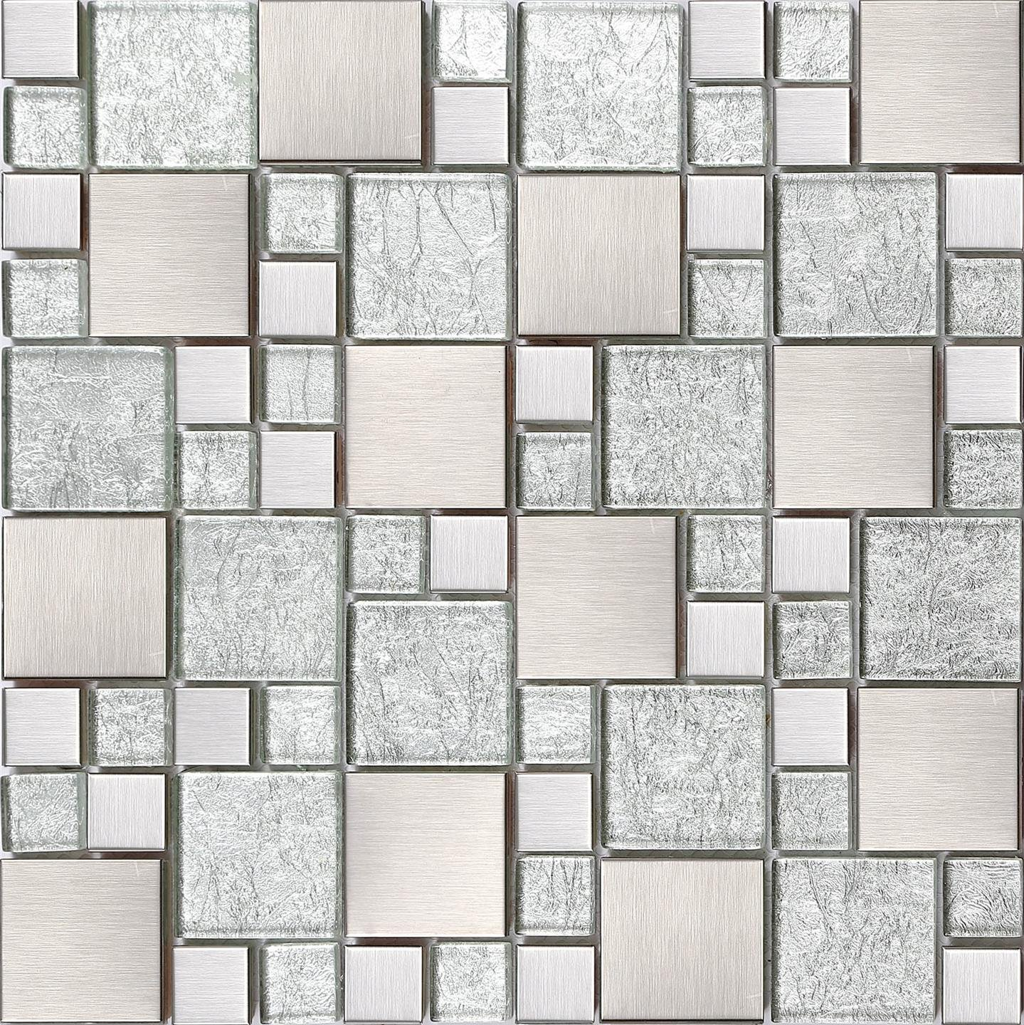 Glass and Stainless Steel Mosaic Tiles, Matte Silver with Stones, Brushed, with Asian Design, MT0048 GTDE