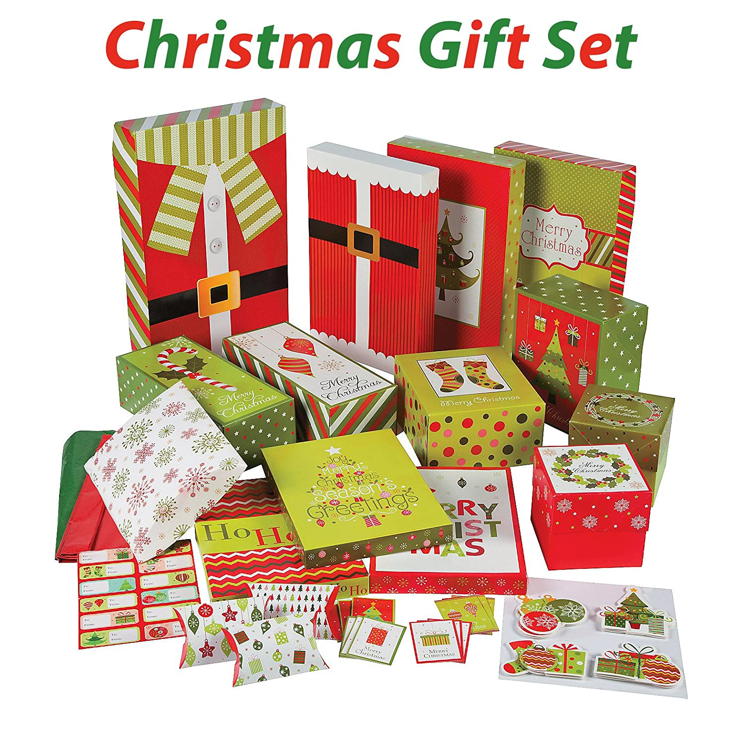 Christmas Gift Wrapping set, Includes gift boxes, tissue, tags, gift card holders, gift tags, 67 Pcs, By 4E' s Novelty, 4E' s Novelty