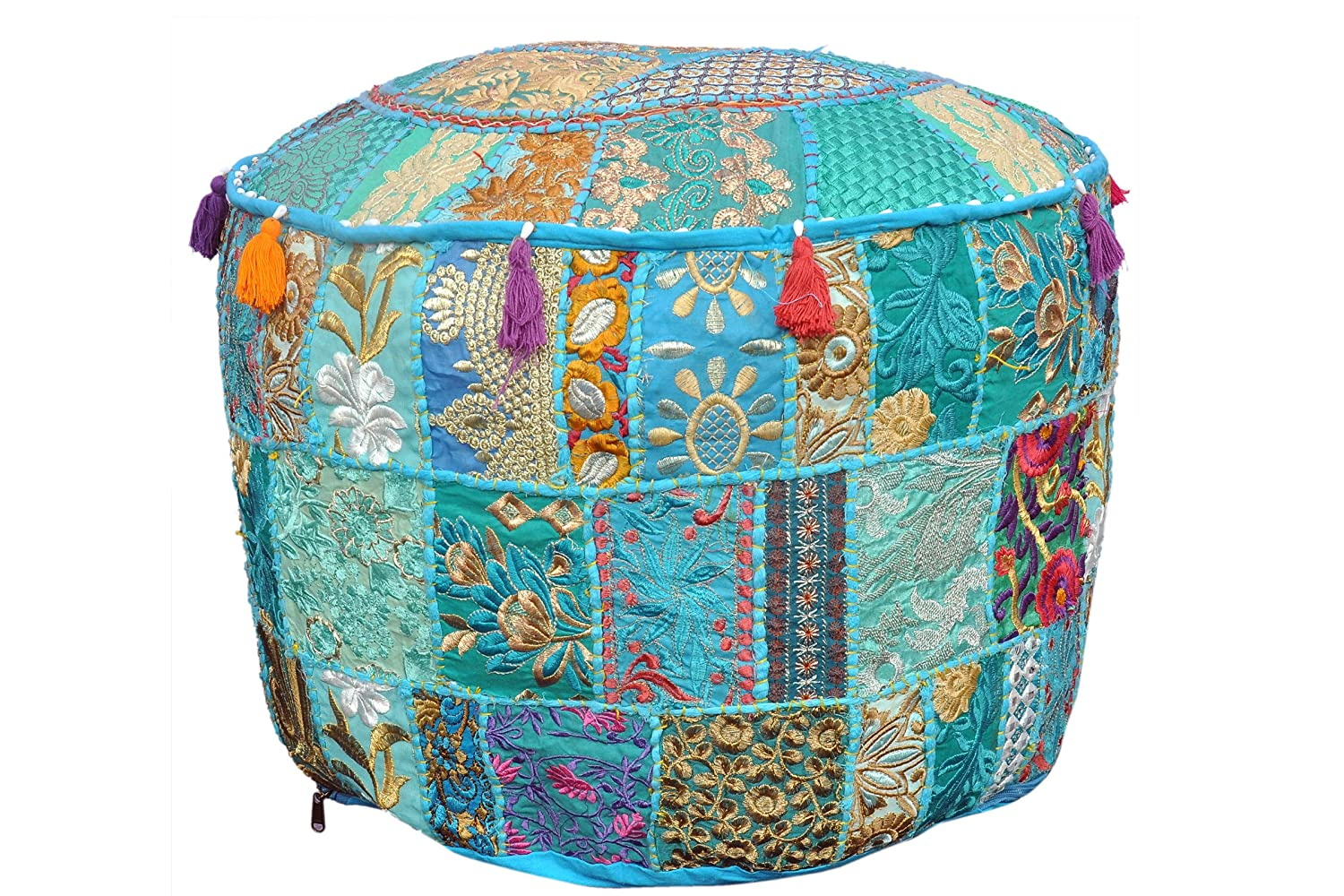 Home Decorative Cotton Indian Ethnic Floral Patchwork Embroidered Round Ottoman Pouf Cover Green Foot Stool Footstool Floor Cushion Cover Home Decor New Year Special By Marudhara Fashion MDL00007