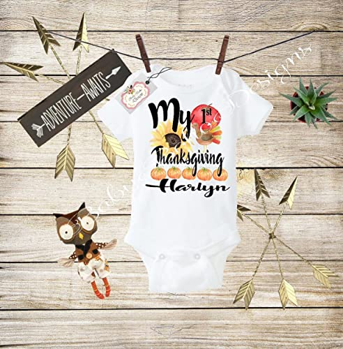acdae9b69 Amazon.com: Baby Thanksgiving Clothes My First Thanksgiving Baby Girl Shirt Girls  First Thanksgiving Bodysuit My 1st Thanksgiving Outfit: Handmade