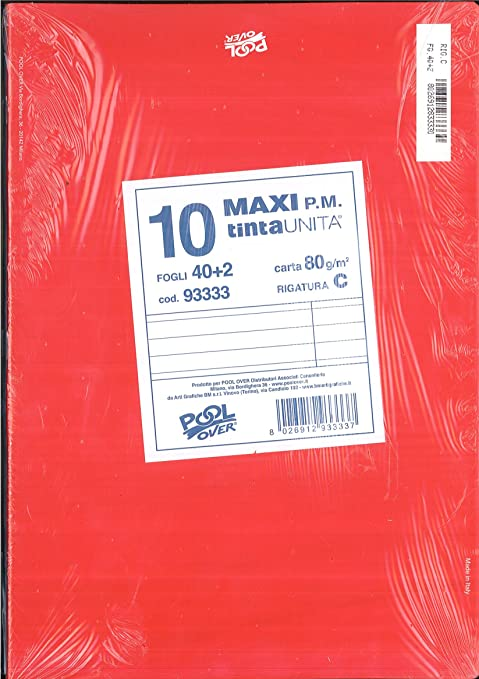 Maxi Quaderno A4 Righe Di Quinta Con Margine C Confezione 10 Pezzi