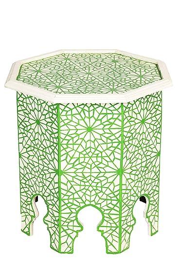 Marokkanischer Tisch Beistelltisch Aus Holz Kalif Blau ø 42cm Rund |  Orientalischer Runder Hocker Blumenhocker Klein ...