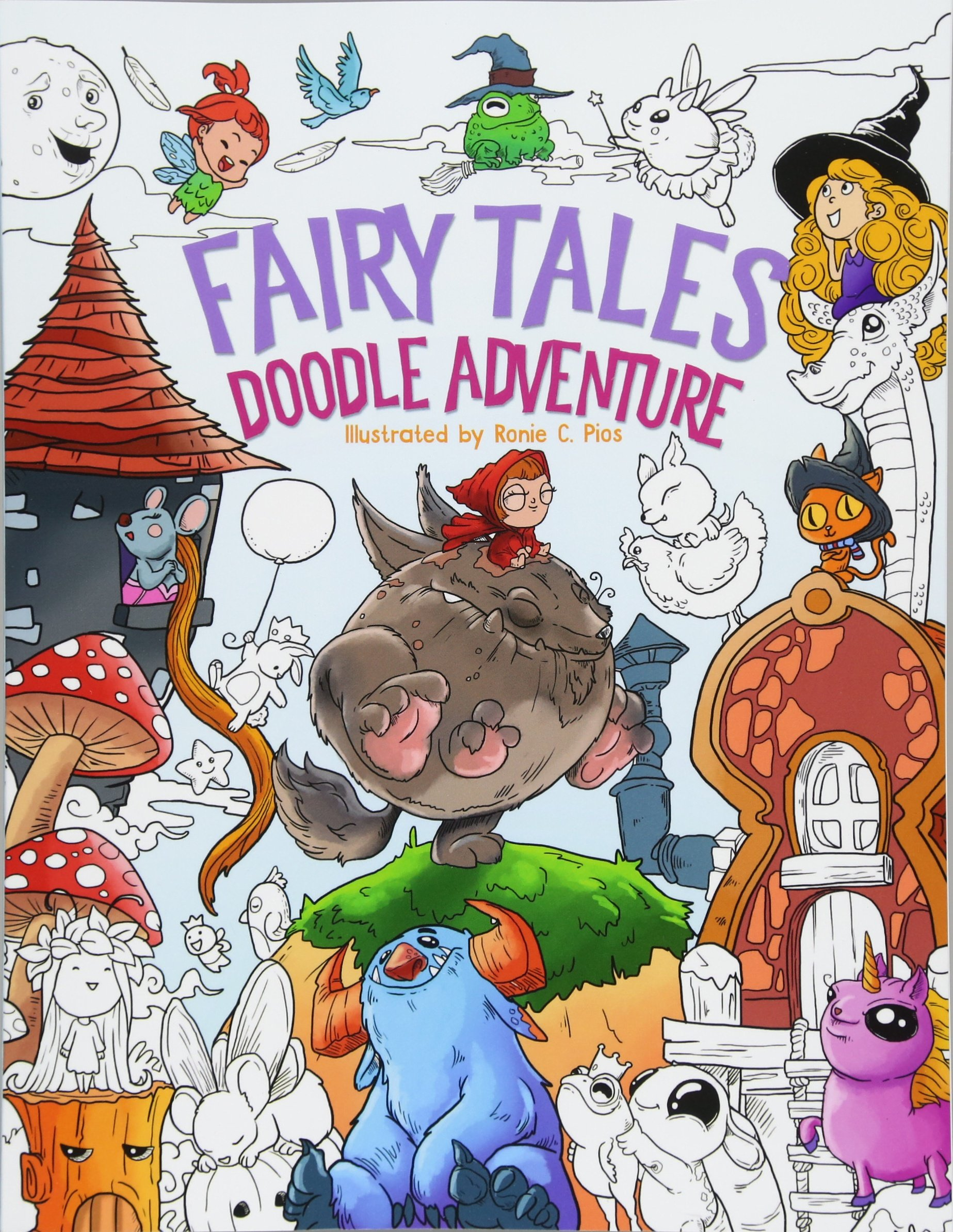 Download Fairy Tales Doodle Adventure: A Beautiful Coloring Book for Adults, Boys and Girls (Alice in Wonderland, Grimms, Chibi) pdf