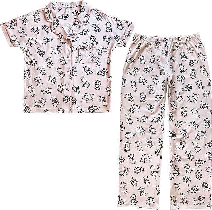 Disney Conjunto de pijama de dos piezas de manga corta con cuello con muescas y pantalones de meter para dormir