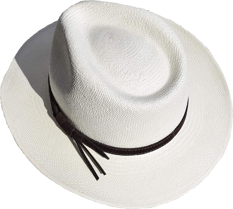 Wegener Original Panama-Hut aus Equador aus 100/% Panama-Stroh handgepflochten und mit Lederband f/ür leichten Sonnenschutz