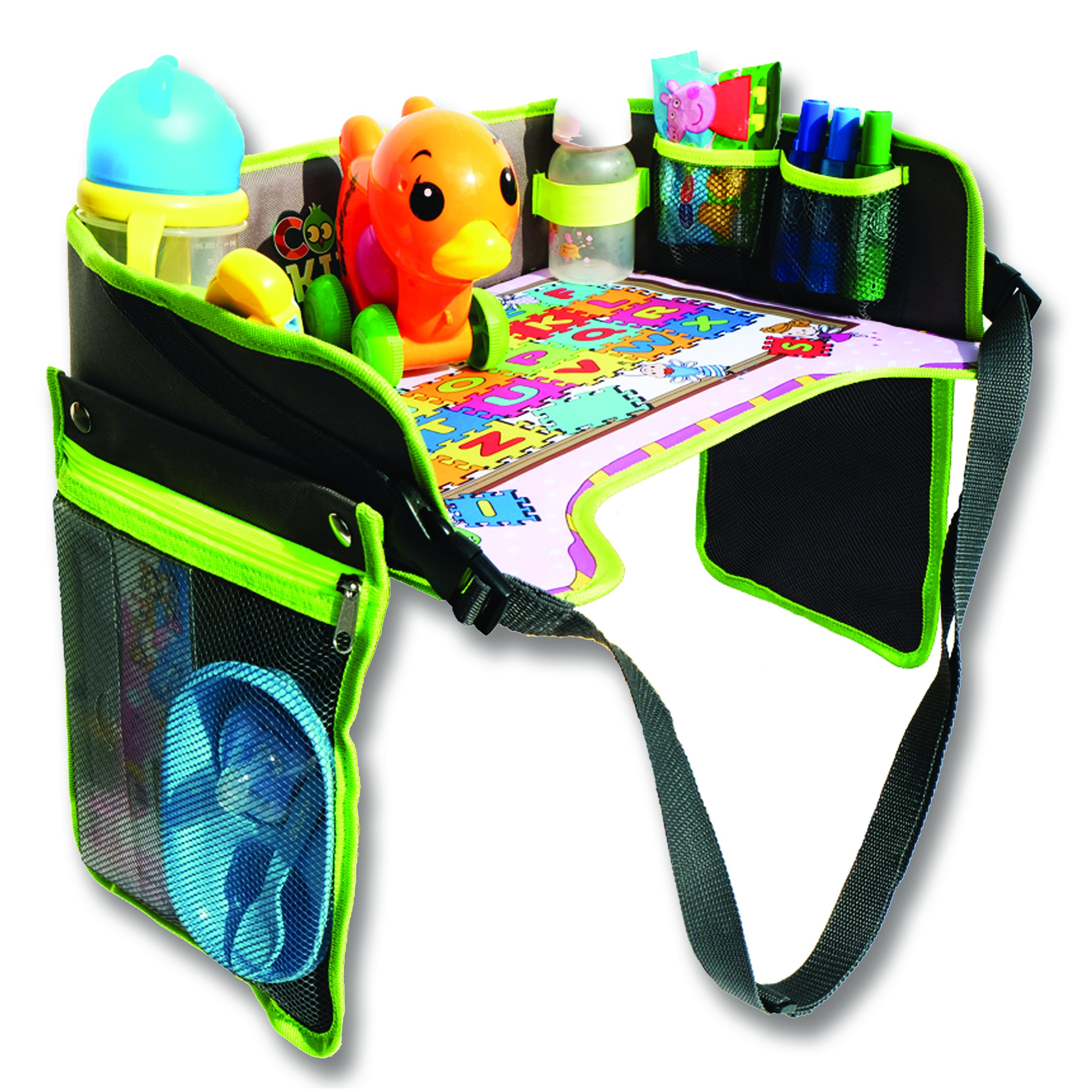 Car Seat Tray Activity Tray for Kids - They'll be Happy Travelers with Our Travel Organizer Tray - Easy to Clean, Waterproof, Cup Holder, Sturdy Enough for Coloring by Cool Kids