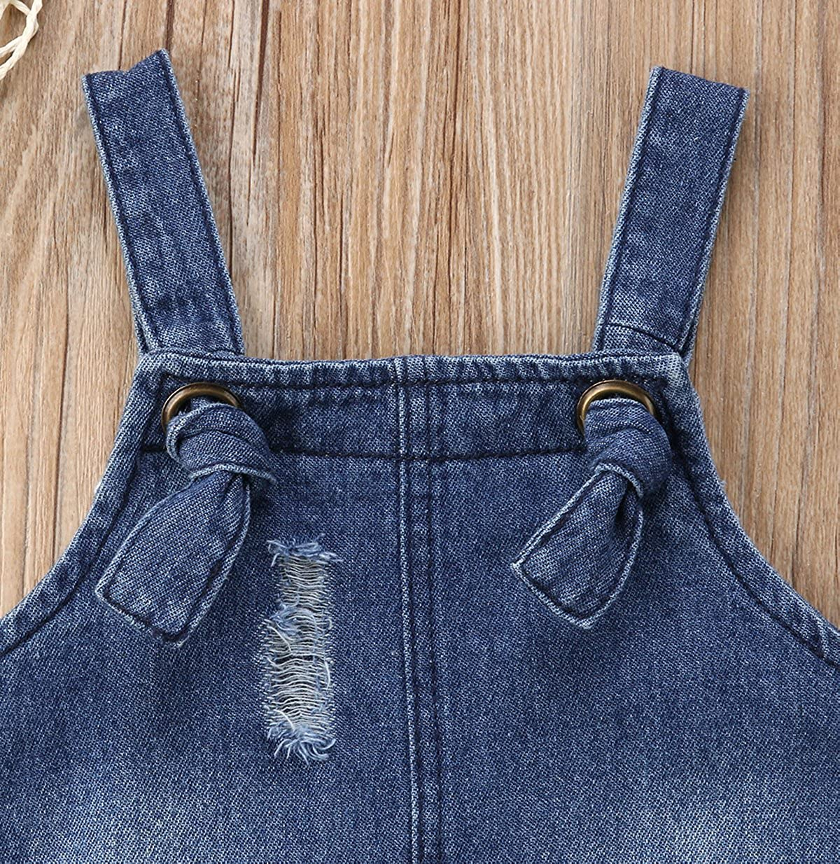 Bohoo Toddler Baby Girls Denim Destroyed Ripped Jeans Dresses Adjustable Straps