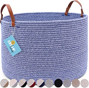 "OrganiHaus XXL Extra Large Cotton Rope Basket with Real Leather Handles | Wide 20""x13.3"" 