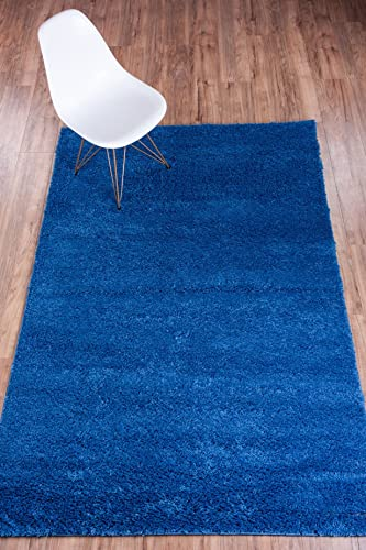 Well Woven Madison Shag Plain Dark Blue Modern Solid Area Rug 3 3 X 5 3