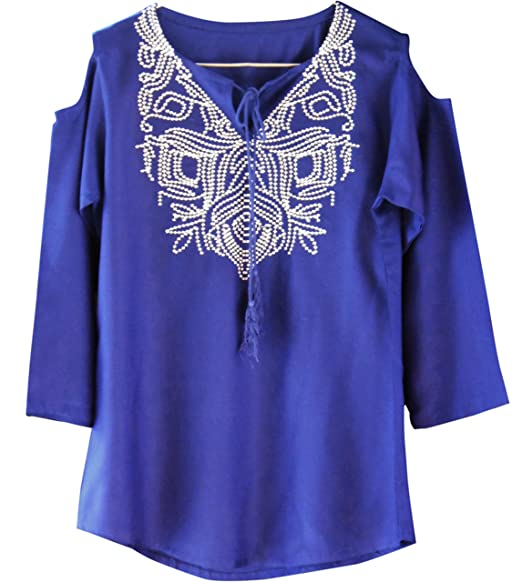 519acedb35670 Triumphin Blue Women Cut Cold Shoulder Short Tunic Kurti for Jeans  Embroidered Cotton Top for