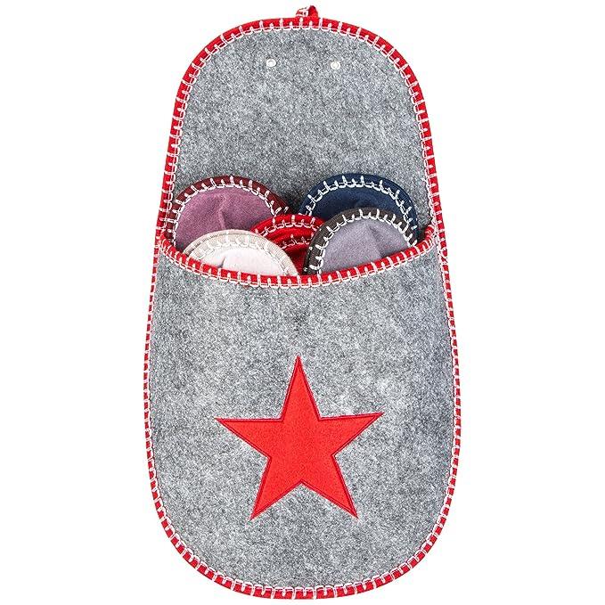 Levivo Juego de 11 piezas, zapatillas para invitados de fieltro con diseño de estrella, en rojo: Amazon.es: Hogar