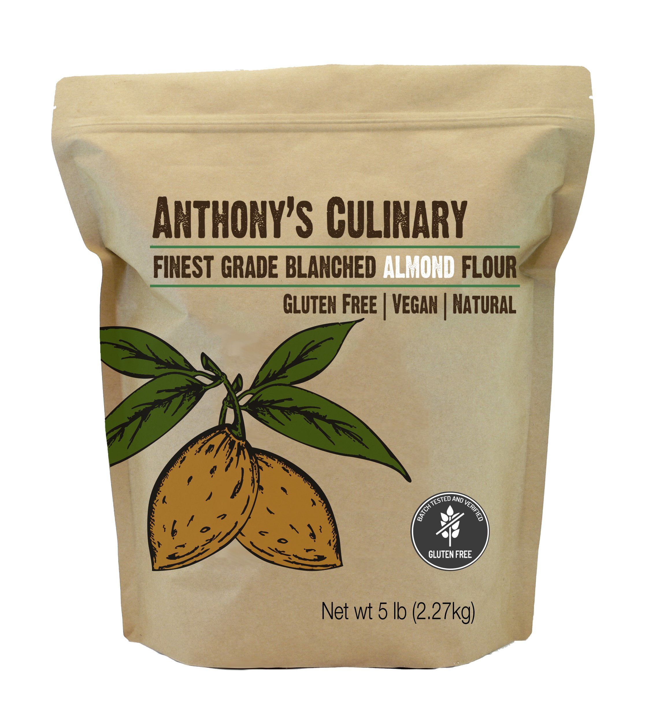 Almond Flour Blanched Culinary Grade (5lb) by Anthony's, Batch Tested Gluten-Free
