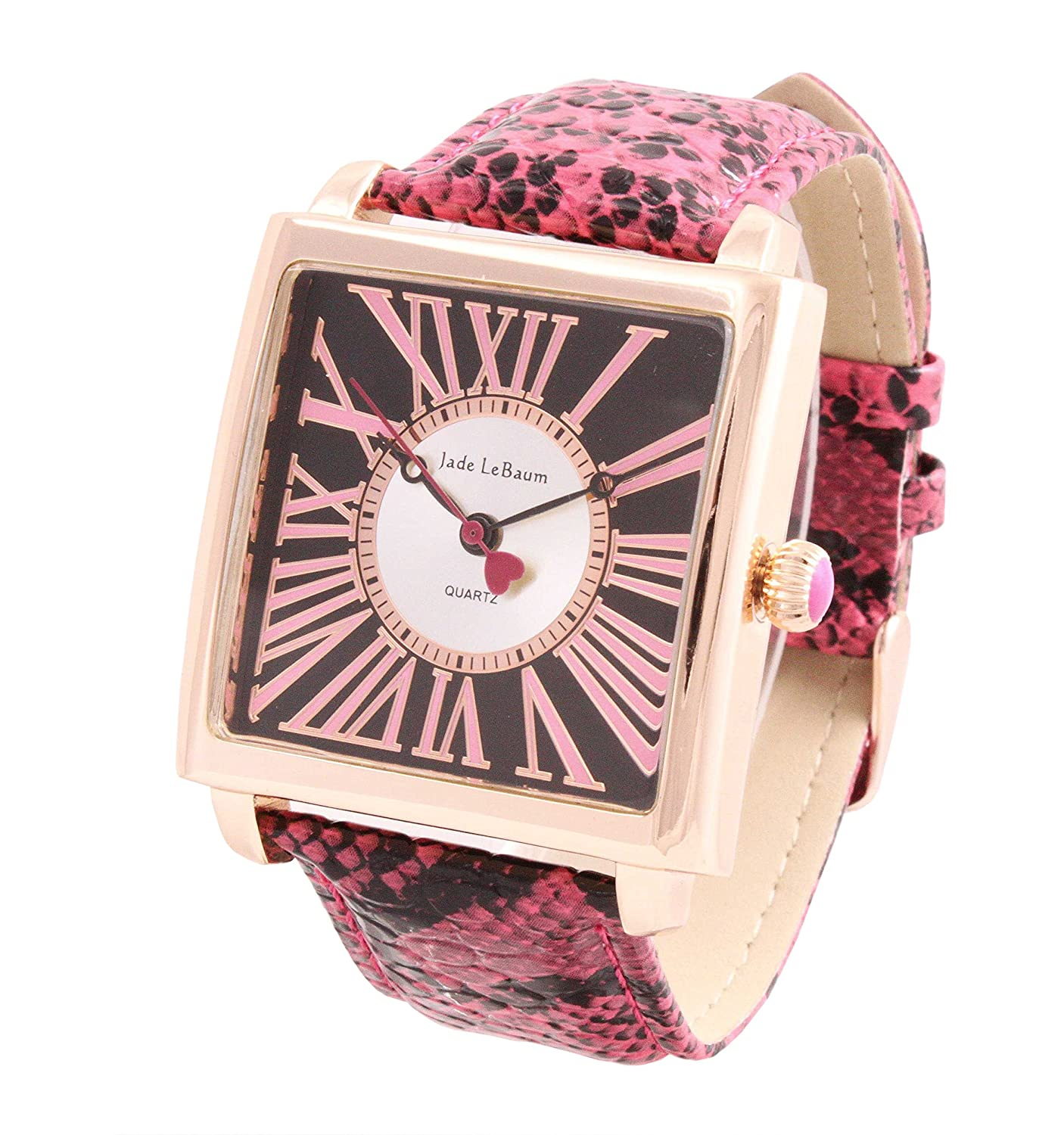 Amazon.com: Womens Watch Square Face Fuchsia Leather Strap Roman Numerals Reloj de Damas Jade LeBaum - JB202873G: Jade LeBaum: Watches