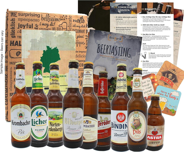 Regalo de viaje de cerveza de Alemania establecido como una idea de regalo con 9 x 0.33 especialidades de cerveza de Alemania, las mejores cervezas de Alemania para probar: Amazon.es: Alimentación y