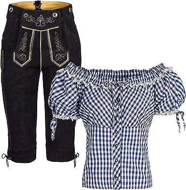 Carmen 38 Conjunto De Pantalones De Piel Para Mujer Con Tirantes Y Blusa Tradicional Tradicional De Cuadros 38 Color Azul Y Blanco Talla 38 Amazon Es Ropa Y Accesorios