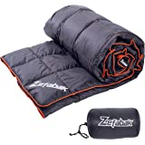 Down Blanket for Camping Indoor Outdoor by ZEFABAK Puffy 600 Fill Power Duck Down Cloudlet Blanket or Sleeping Bag Replacement, Black