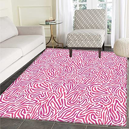Amazon.com: Pink Zebra Rugs for Bedroom Curved Wild Wavy ...