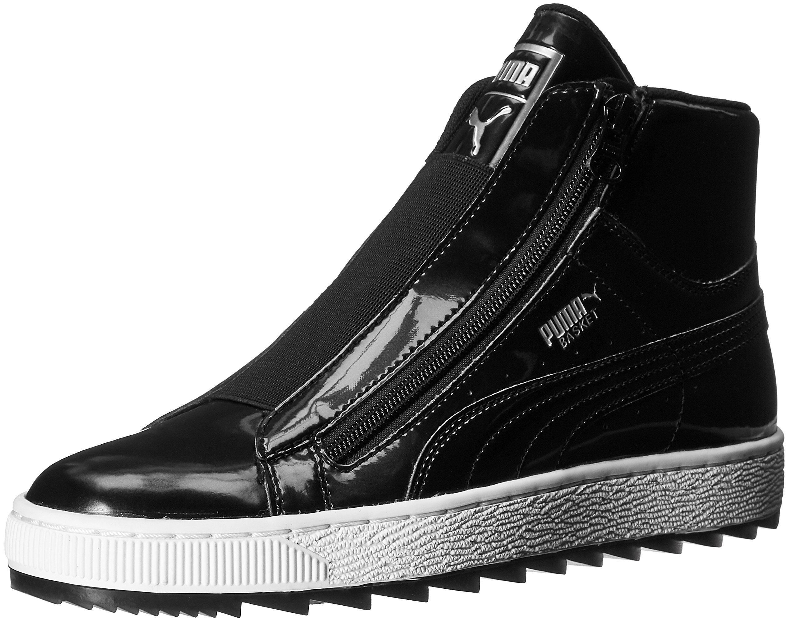 PUMA Women's Basket mid WTR WN's Fashion Sneaker, Black, 7 M US