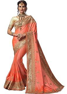 b3431aae7a94c Panash Trends Women s Heavy Embroidery Work Satin Chiffon Net Saree
