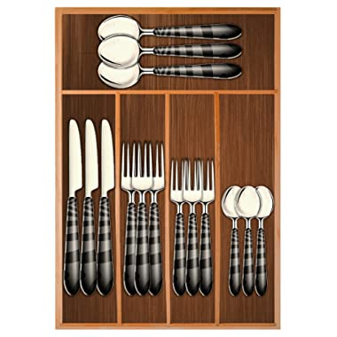 Chef Essential Bamboo Utility Drawer Organizer, Kitchen Silverware tray, 5-Compartment, Your Drawer Will Look Super Neat with This Bamboo Divider, Great Gift Idea for Your Loved One.