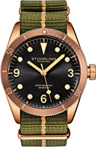 Stuhrling Original Watches for Men - Diver Watch - Mens Sport Watches Water Resistant Wrist Watch up to 100M - Nylon Analog Watch Japanese Quartz Watch Movement -Mens Watches Collection