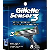 Gillette Sensor3 Men's Razor Blade Refills, 8 Count, Mens Razors/Blades