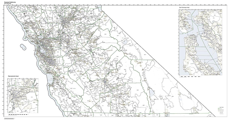 Sacramento California Zip Code Map.Amazon Com Zip Code Map State Of California Central Third Laminated