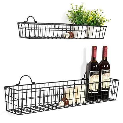 Merveilleux MyGift Country Rustic Wall Mounted Openwork Black Metal Mesh Storage Baskets  Display Racks, Set Of